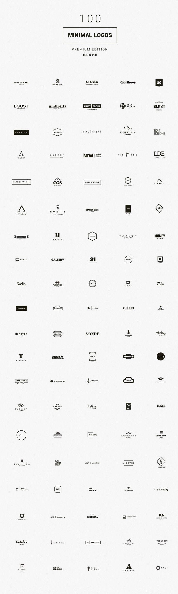 100 Minimal Logos - Premium Kit by DesignDistrict on /creativemarket/