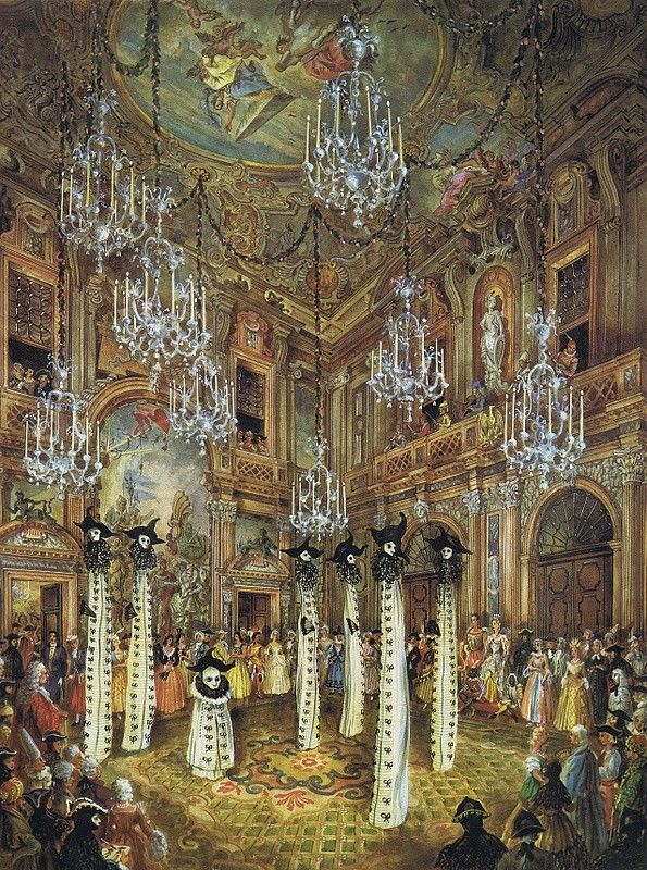 Watercolor by Alexandre Serebriakoff of the 1951 Ball given by Charles de Beistegui.: