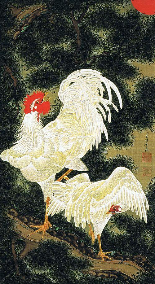 ITO Jakuchu (1716~1800), Japan 伊藤若冲 老松白鶏図