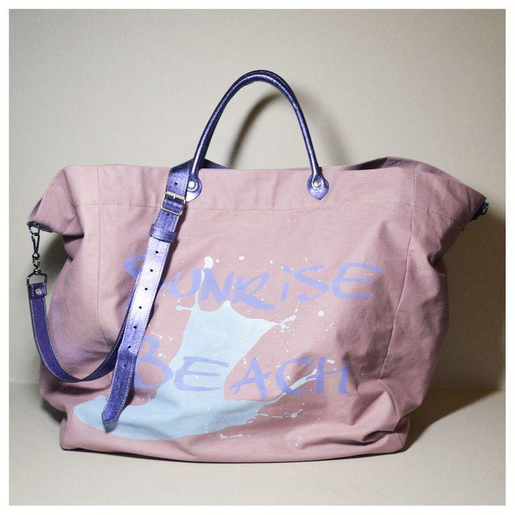 Grand sac Cabas confectionné dans un lin enduit rose poudré