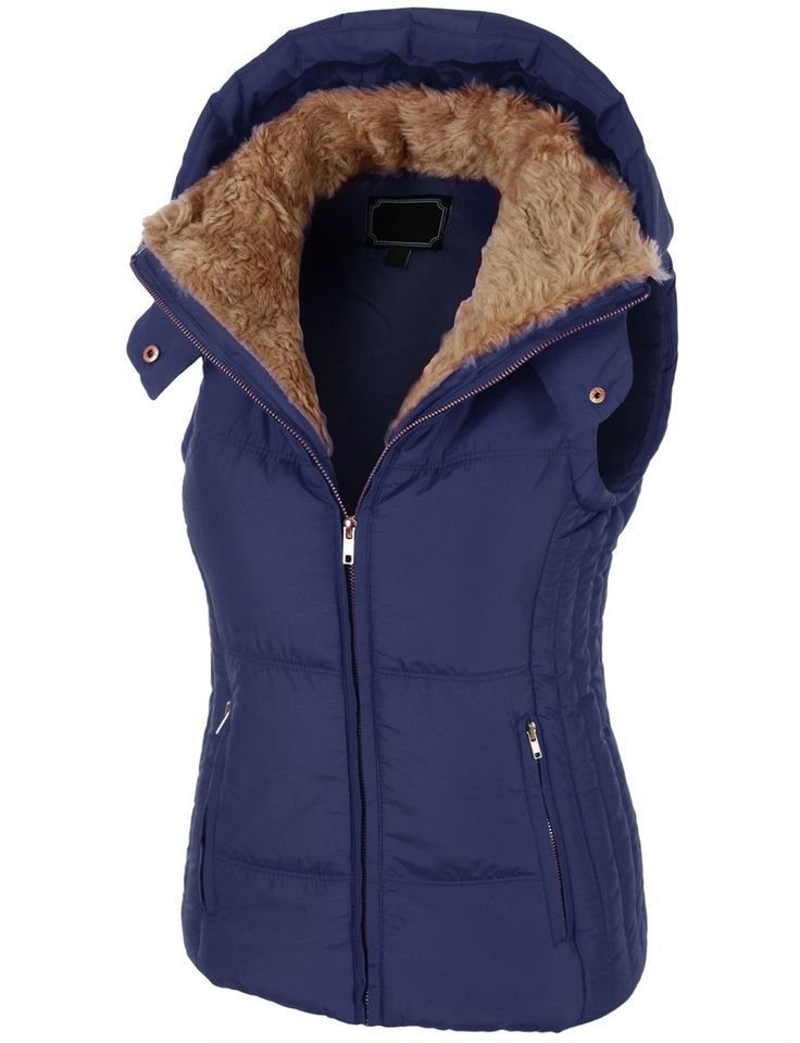 LE3NO Womens Fully Lined Padded Puffer Jacket Vest with Hoodie - 218 Best WOMEN'S PUFFER JACKETS & VESTS Images On Pinterest