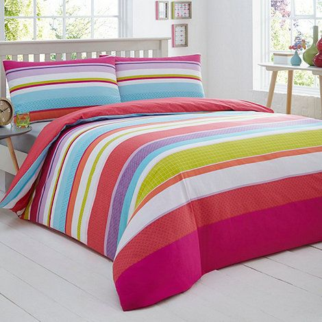 This duvet set from The Collection will brighten up any modern bedroom. Featuring a vibrant, multi-coloured palette mixing pinks and greens, it is finished with a bold striped print.