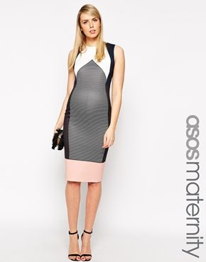 ASOS Maternity Bodycon Dress In Stripe And Colour Block -wedding guest dress - get black strapy sandal