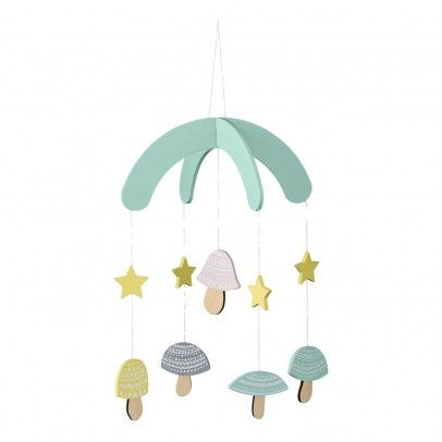 Bloomingville Kids Mushrooms Mobile `One size Fabrics : Wood * Color : Pale green, Natural, Yellow, Pink, Black * Length : 24 cm, Width : 24,4 cm, Height : 35 cm. http://www.MightGet.com/january-2017-13/bloomingville-kids-mushrooms-mobile-one-size.asp