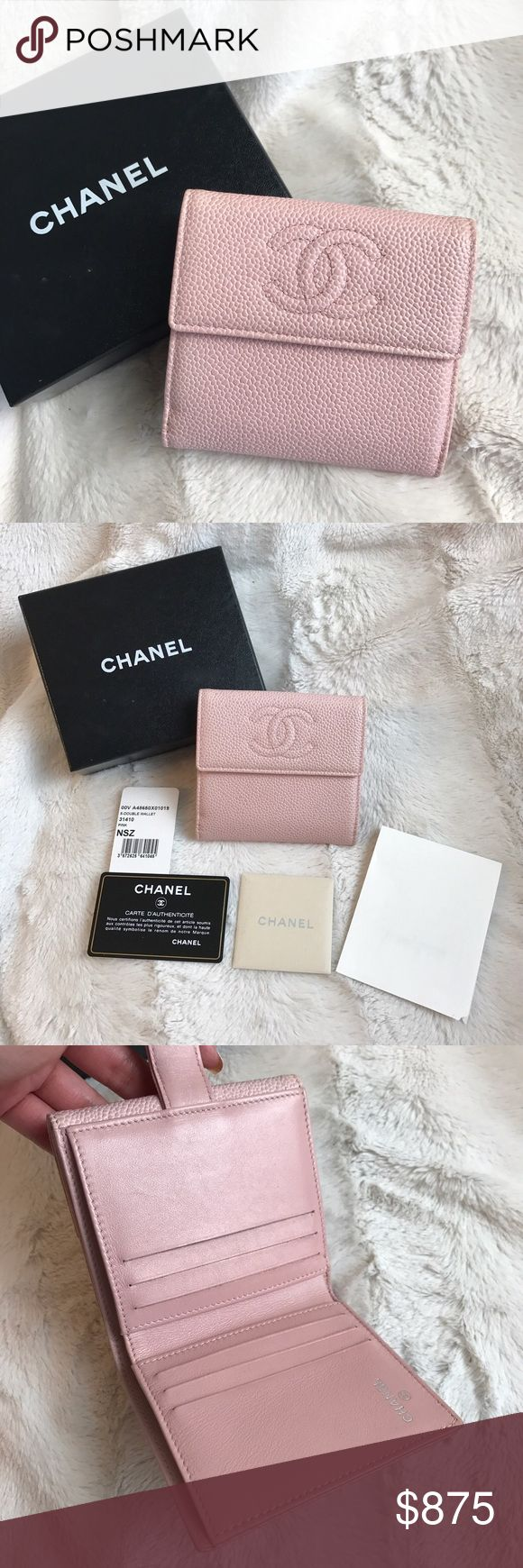 $700 OBO CHANEL BABY PINK CAVIAR FRENCH WALLET Just posted this for sale on my @luxesales IG so I thought I would here too! Please see that Instagram for more photos and details since I can't fit the whole listing and all the photos there. You'll get up close shots of any wear etc. Measurements there too!              ASKING $700 SHIPPED (US) OBO 📩luxesalesIG@ gmail.com to purchase CHANEL Bags Wallets