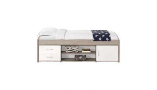 Bed Yanniek is een modern eenpersoons ledikant met veel opbergmogelijkheden. Het bed is licht eikenkleur met wit.