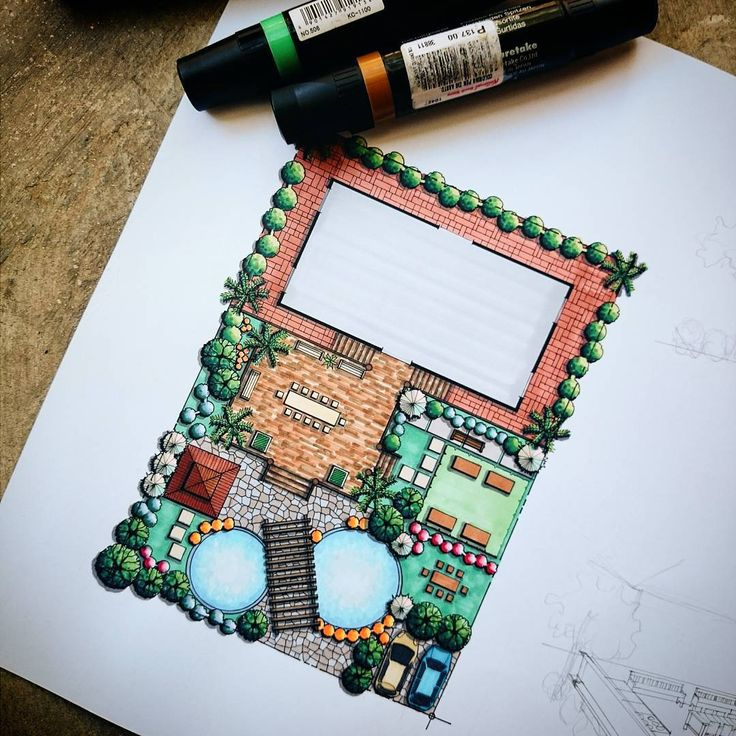 """""""Vacation House's Landscape Design by my very talented, amazing friend, @katebldnd #art #architecture #landscaping"""""""