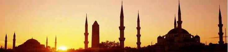 Sunset on domes and towers of Istanbul--History of Instanbul