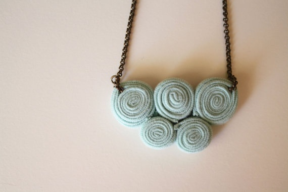 5 circles necklace / celadon by ganbayo on Etsy, $17.00