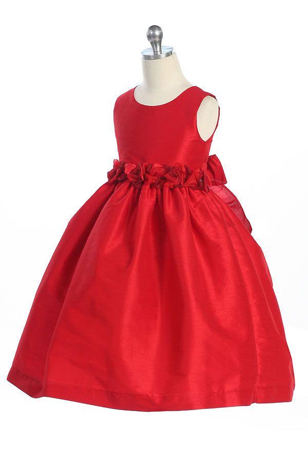 red flower girl dresses | Red Tea-Length Holiday & Flower girl dress