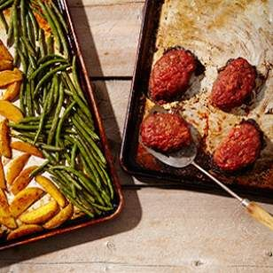 Mini Meatloaves with Green Beans & Potatoes Recipe (added oatmeal instead of breadcrumbs and a little chipotle chili powder and cumin.  Yum.)