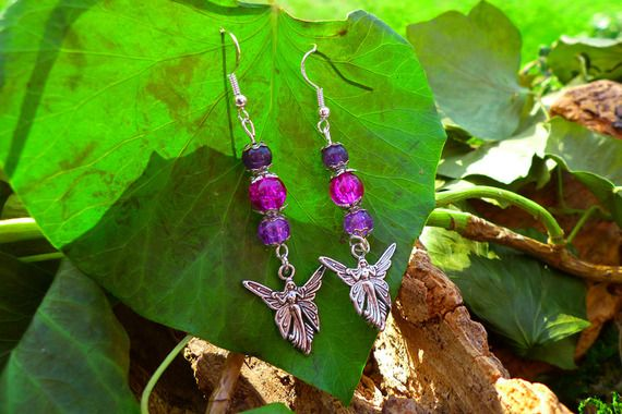 Fées papillons avec perles d'Améthyste et de cristal craquelé, boucles d'oreilles
