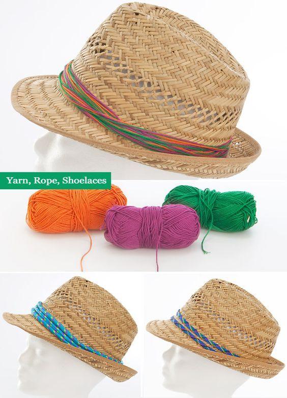 diy summer craft fahion project decorate summer straw hat yarn shoelaces