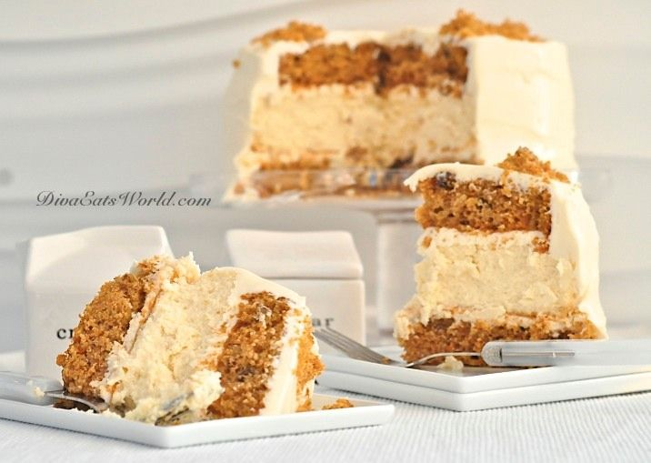 CHEESECAKE/CARROT CAKE makes one 9-inch cake, 3 layer cake (recipe belongs to 'Junior's Cheesecake Cookbook by Alan Rosen & Beth Allen) and is posted at linked page. Going to make this for my daughter - her two favorite desserts!