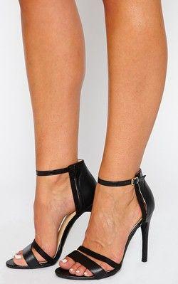 Cassia Black Strap Heeled Sandals