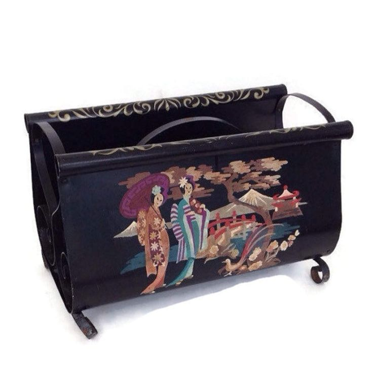 Cottage Chic Toleware Magazine Rack-Paint by Number-Asian Garden Scene-Black Metal-Rolled Edges-Gold Trim-Record Holder-Tole Home Decor-PBN