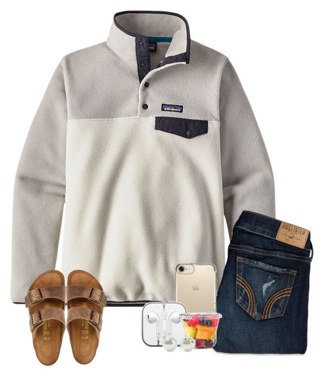 """i still catch you looking ✨"" by kendallthackston on Polyvore featuring Patagonia, Hollister Co., Speck, CO, Birkenstock and Kenneth Jay Lane"