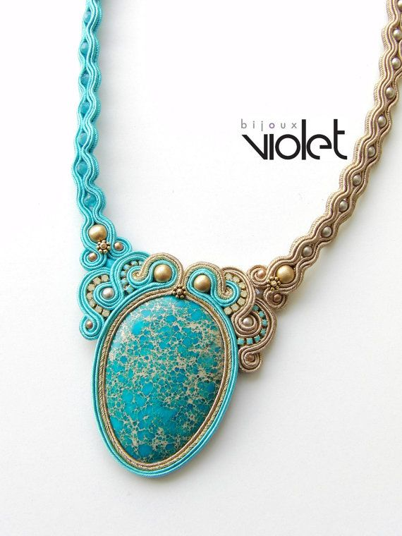Soutache Necklace   Aqua Dream by Violetbijoux on Etsy, $109.00...pour la monture en collier...