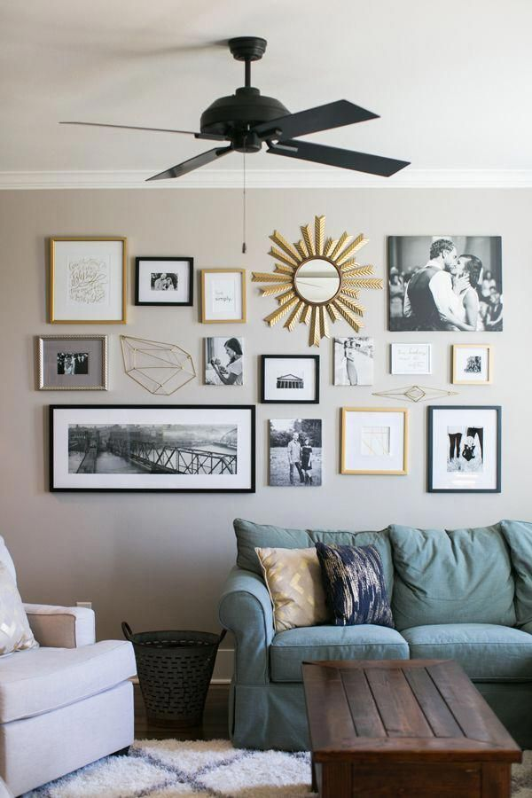 Gold Gallery Wall From Fixer Upper Rachel Whyte Wall Decor Living Room Wall Collage Decor Living Room Pictures