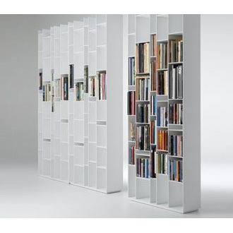 MDF Italia Random Bookcase MDF Italia Back of melamine - coated board (thickness 10 mm). Shelves at various standard heights, fit into the backs through concealed slots. Adjustable feet. Ready for wall attachment.