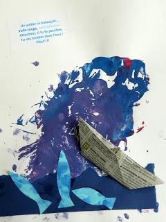 Comptine illustrée- Oh mon bateau- Peinture, collage et origami- Les petites têtes de l'art