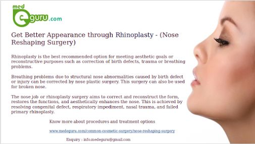 Feel Better with Rhinoplasty -Nose Surgery. Know More about Procedures and Treatment options @ www.medeguru.com