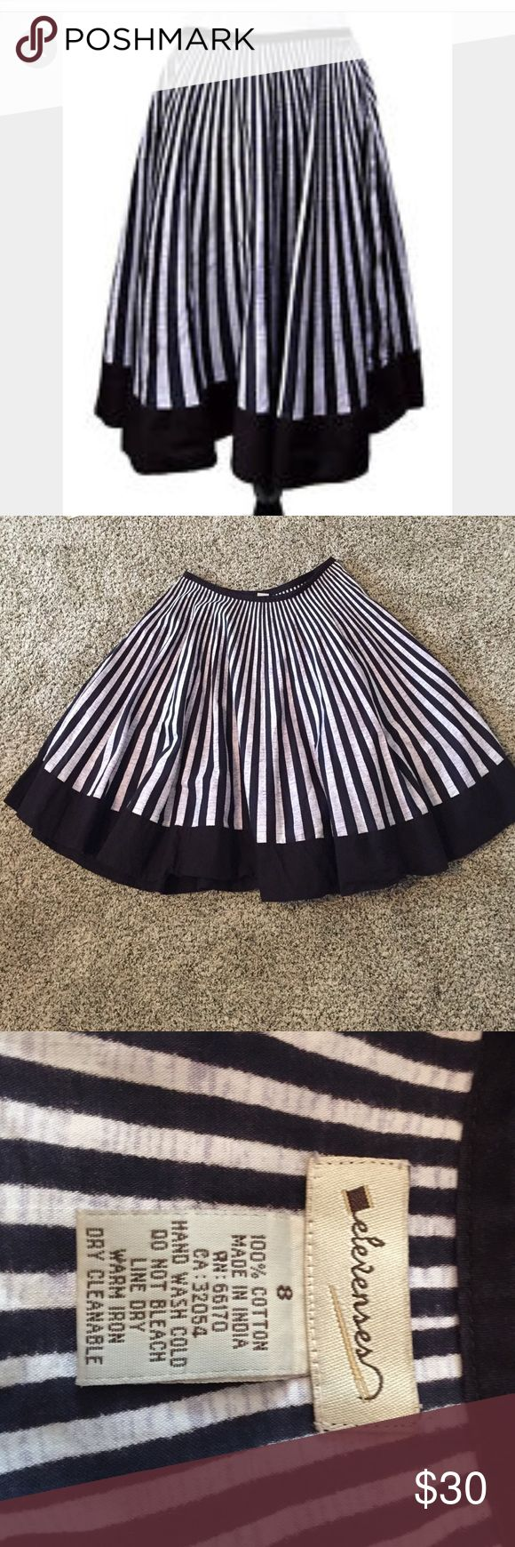 """Elevenses striped circle skirt Black and heathered gray striped full circle skirt with black border. Hidden side zipper with hook and eye. Length from waistband to hem is 25"""". Excellent condition. Anthropologie Skirts Circle & Skater"""