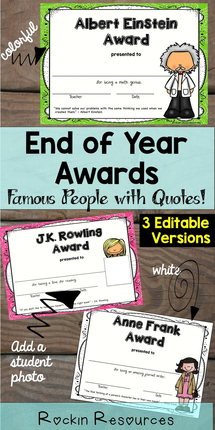 These are super cute end of school year awards!  They are great for class awards, graduations and ceremonies!  There are 3 versions included.  One, you can personalize with a student photo!  All versions are editable to add student name, date, etc.  Congratulate your students for a job well done!