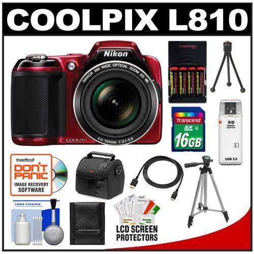 nikon coolpix l810 digital camera red with 16gb card batteries u0026 charger