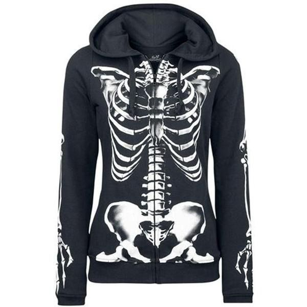 Gothic Skull Halloween-hettegensere  Gender :  Women  Item Type :  Hoodies  Item Type :  Sweatshirts  Sleeve Style :  Regular  Hooded :  Yes  Collar :  With hood  Style :  Gothic  Type :  Zipper  Material :  Polyester  Sleeve Length (cm) :  Full  Fabric Type :  Cotton with loops  Clothing Length :  Regular  Pattern Type :  Cartoon  Free Shipping, Fast Delivery.  <a class=