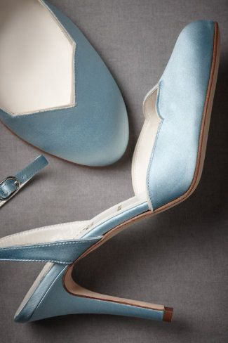Forties Forever Slingbacks from BHLDN. Baby blue satin - these could be your something blue !