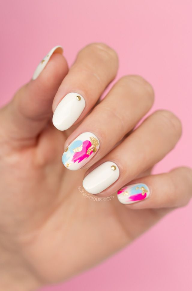 White nails || Japanese nail art, cool foil nails