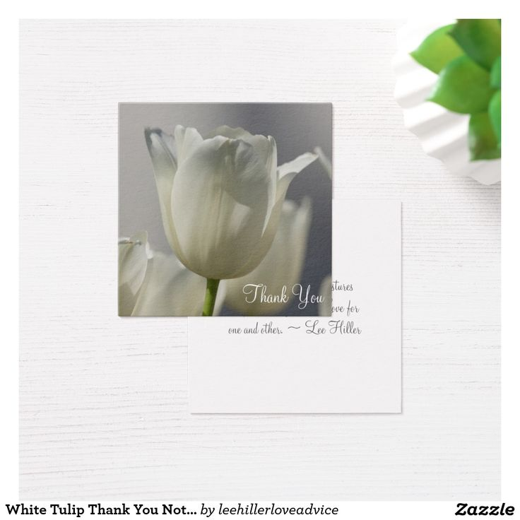 White Tulip Thank You Notes Square Business Card
