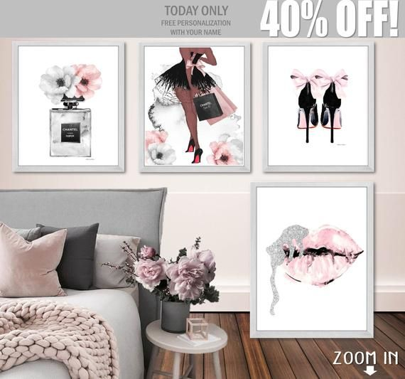 Fashion Art Set Fashion Wall Art Digital Download Fashion Etsy In 2020 Fashion Wall Art Wall Art Sets Living Room Pictures