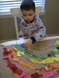 """Love this as a group project: assign each child a colour and have them search for """"found"""" objects to contribute to the project."""