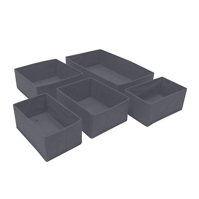 Ivy Lot de 5 paniers gris organisateurs de tiroirs