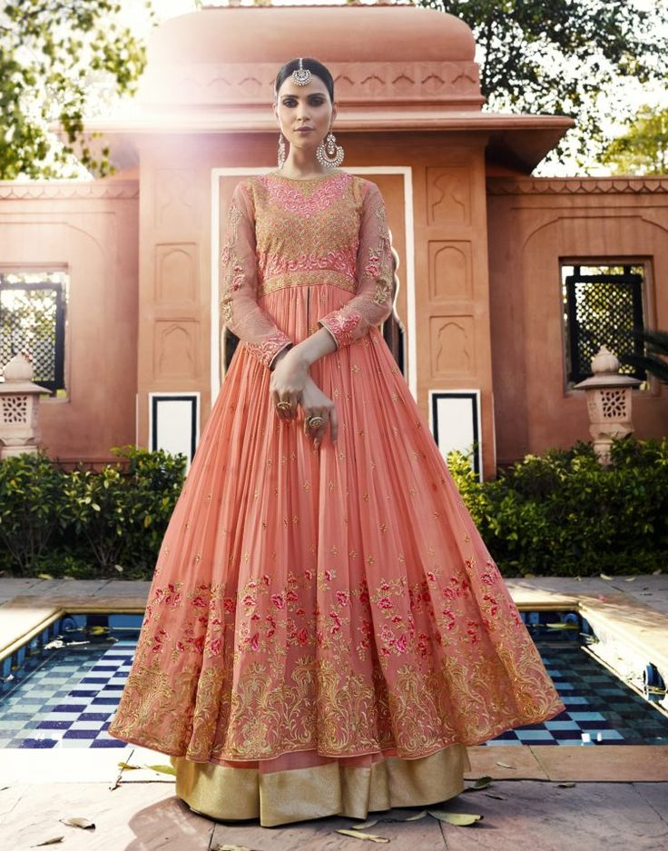 Peach Color Royal Georgett Anarkali Salwar Suit - ClickOnBazar    #anarkalisalwarsuit #designersalwarsuit #bridalsalwarsuits #partywearsalwarsuits #anarkalidress #onlinedress #clickonbazaar #anarkalionline #fashion #salwarsuits #weddingsalwar #semistitchsalwarsuits