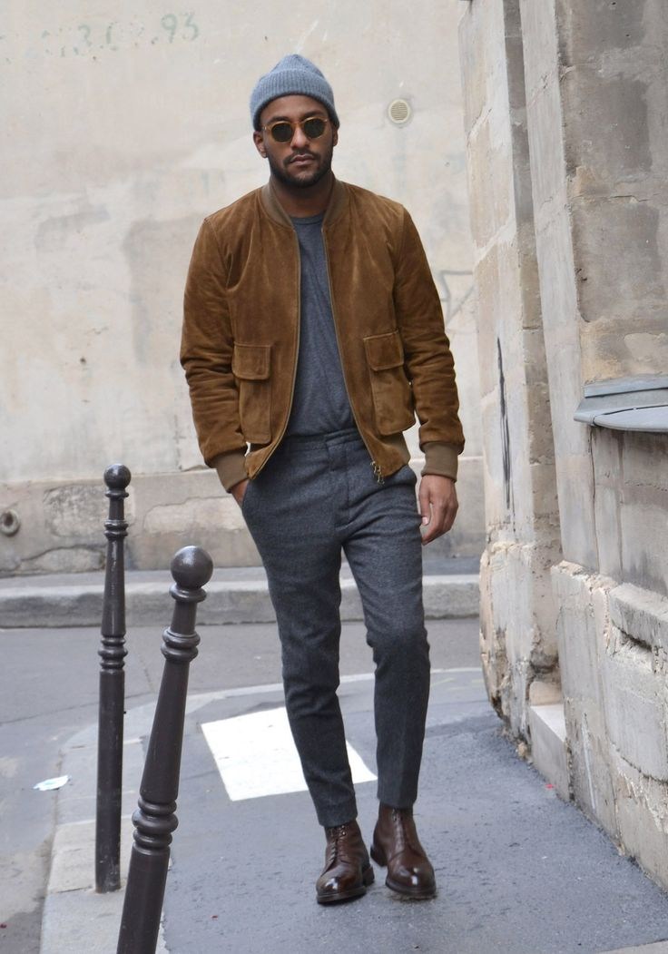 Loving the suede bomber jacket