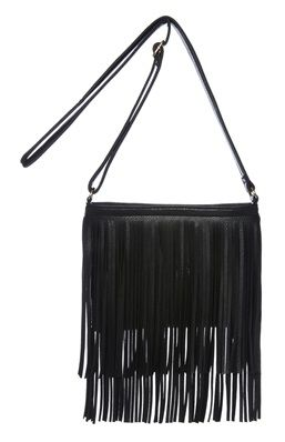 Festival Fashion Essentials: Black Fringe PU Cross Body Bag.