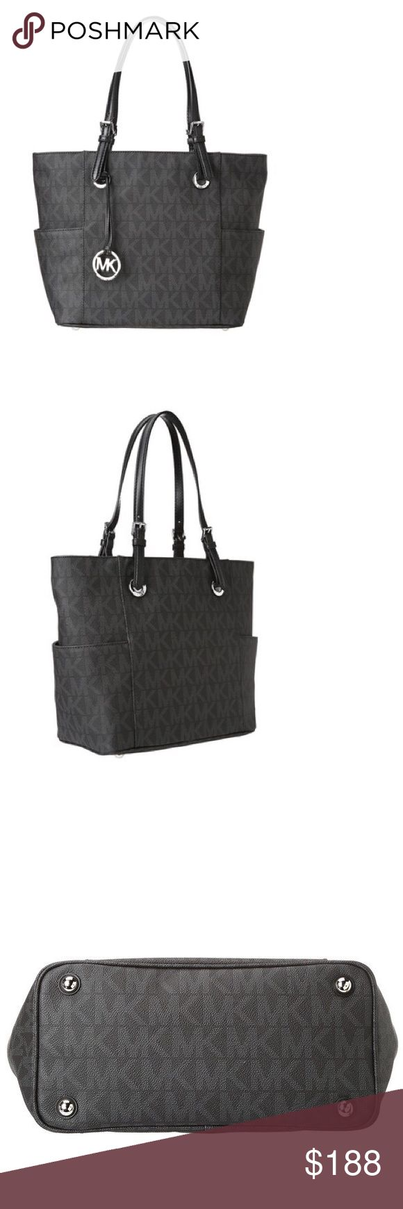 Michael Kors Signature Black Logo/Silver Tote Bag This signaature tote by Michael Kors features a monogrammed exterior in black, accented by silvertone hardware. The open design completes the look.  Handbag Material: PVC Handbag Color: Black Main Closure Type: None Hardware: Silvertone Handles: Double top Dimensions: 11 inches high x 16 inches wide x 5 inches deep Michael Kors Bags Totes