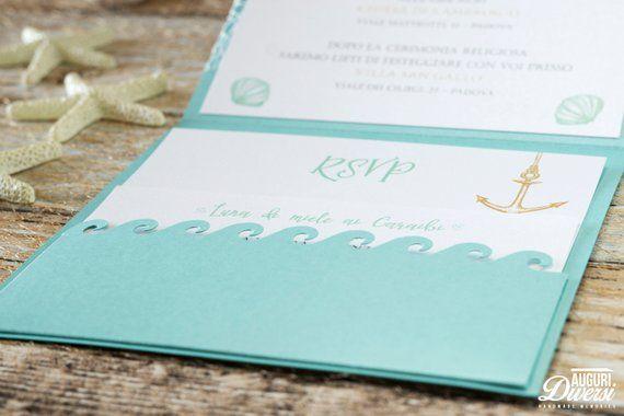Partecipazioni Matrimonio Color Tiffany.Partecipazione Di Matrimonio Stella Marina In Carta Perlata