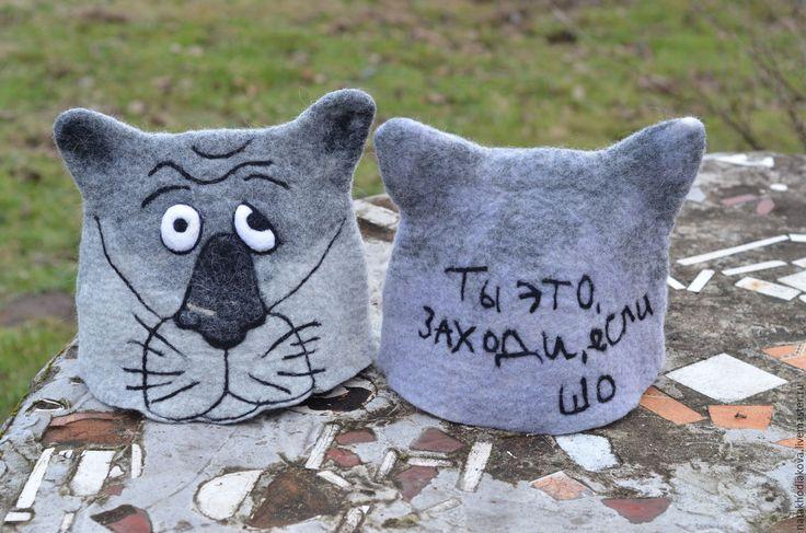 """Купить Шапка валяная мужская волк """"Щас спою"""" - банная шапка, шапка из шерсти"""
