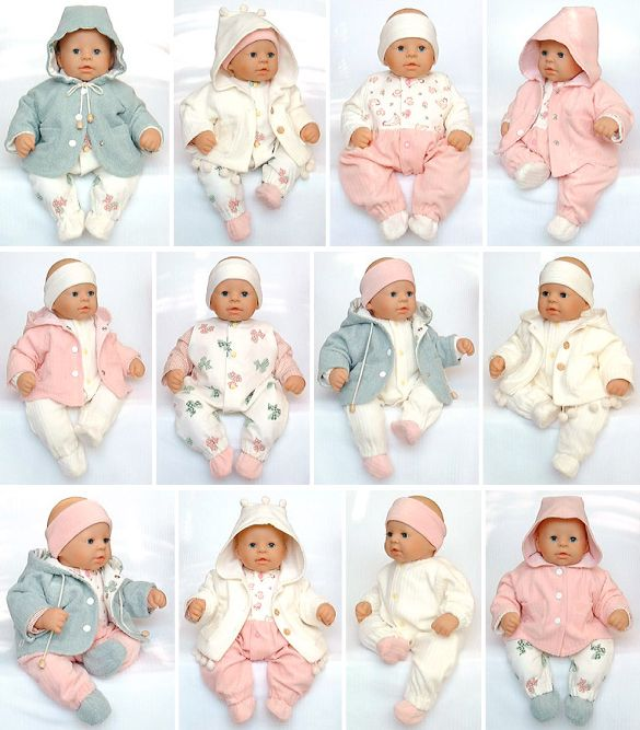 Lovely Basics, very cute baby doll patterns for larger baby dolls such as Chou Chou® dolls, 48cm. Those are the dolls that I used to design these patterns. I of course have no affiliation with Zapf Creations®
