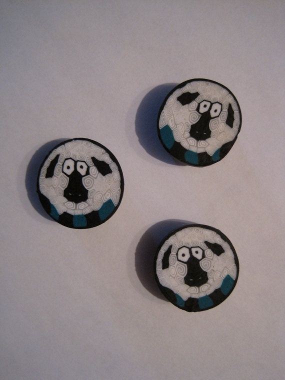 Sheep Magnets  polymer clay