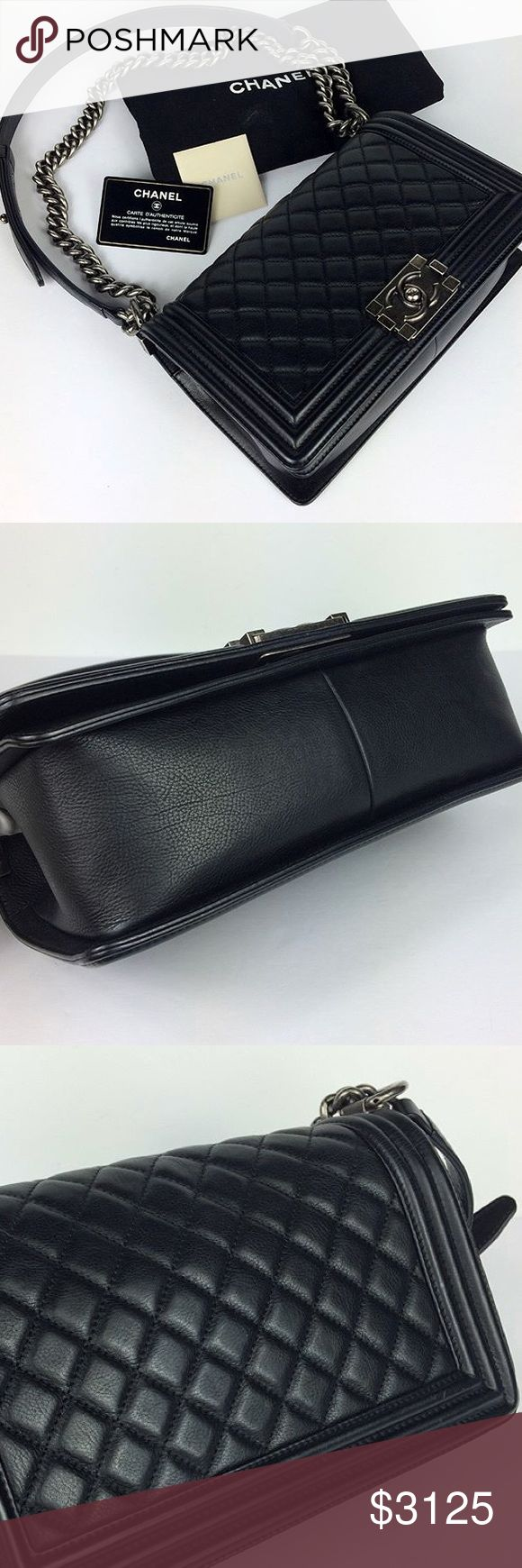 Chanel Boy Bag 100% Authentic Comes with everything Price firm here! Caviar Leather CHANEL Bags