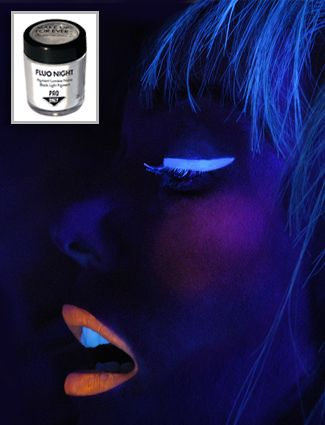 """This is sooo awesome! #FluoNight for $31.00 is a """"translucent powder that enhances any makeup to light up the face and body so it glows in the dark""""! How cool is that! UV reactive makeup for #Halloween or anytime. """"This universal loose powder can be combined with any cream, powder or gel based product to create a glow in the dark effect, without altering the original product's hue."""": Makeup Hair Nails, Halloween Makeup, Makeup Ideas"""