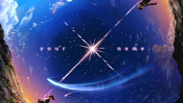 Your Name. Taki and Mitsuha Anime Comet Night Sky ...