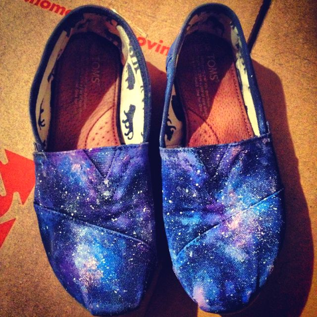 Toms were getting old so I risked galaxy-ing them. They were a success! #galaxy #toms #diy #shoes