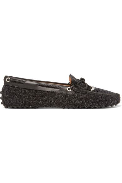 Tod's - Gommino Leather-trimmed Glittered Suede Loafers - Black - IT38.5