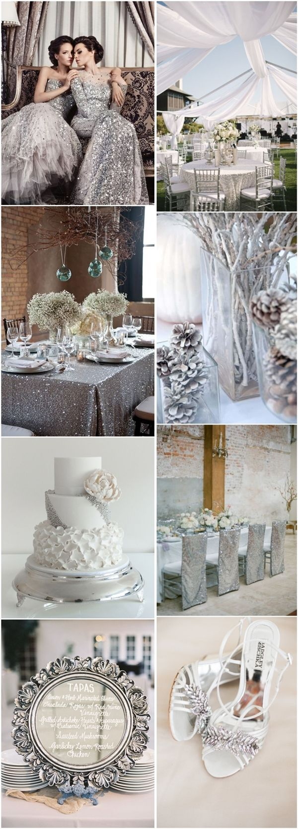 Silver Wedding Ideas - silver winter wedding color ideas